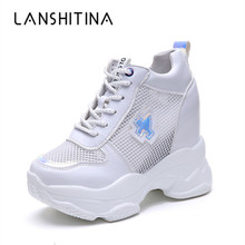 2019 New Women High Platform Shoes Summer Breathable Women Height Increased Shoes 11CM Thick Sole Trainers Mesh Sneakers Woman стоимость