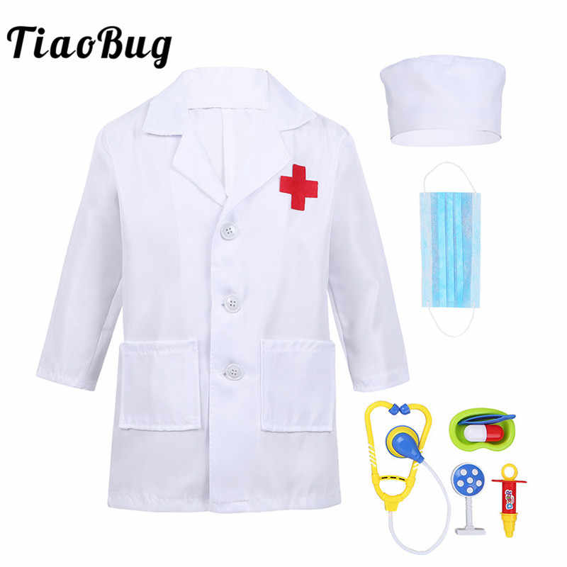 Tiaobug Unisex Boys Girls Lab Coat Surgeon Doctor Nurse Uniform Medical Tools Set Halloween Costume For Kids Teens Cosplay Party