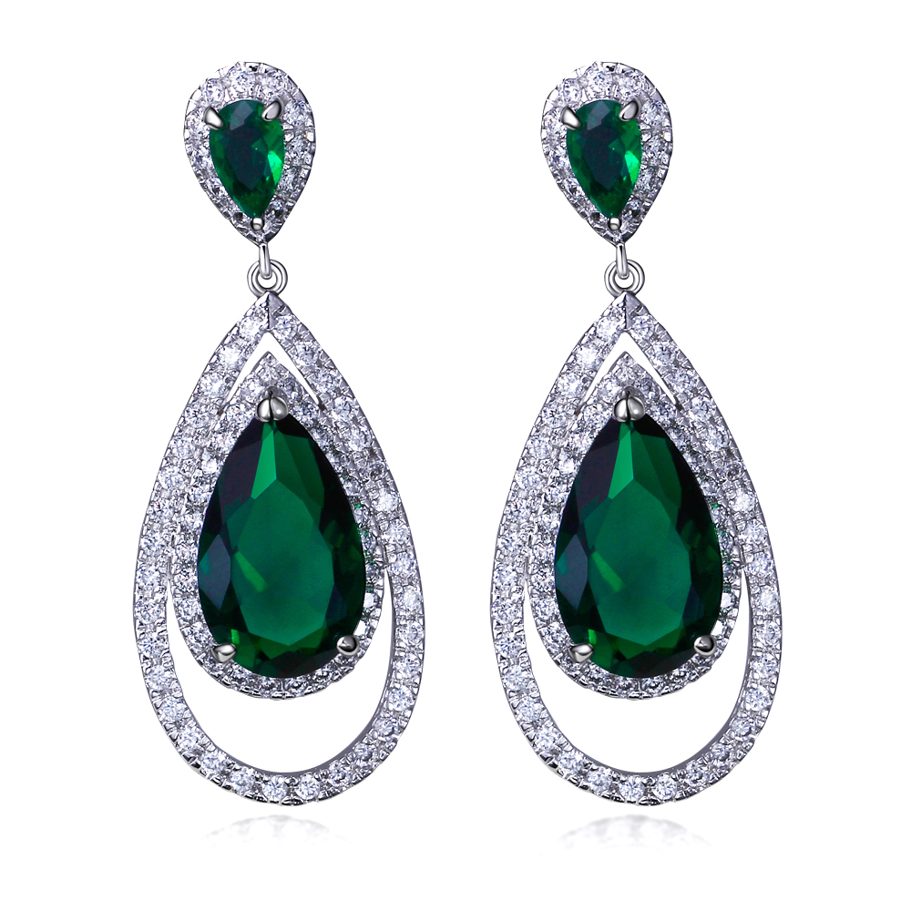 Earrings For Women Long Drop Earrings Rhodium Plated With
