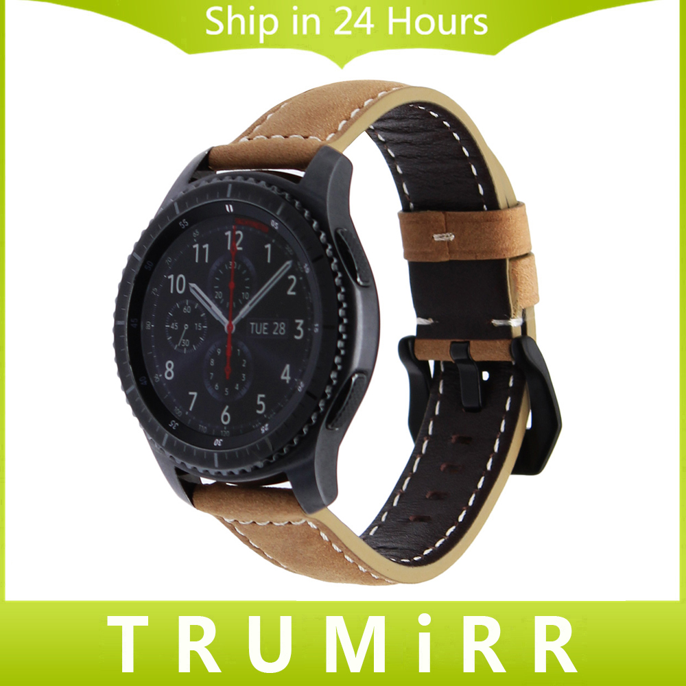 22mm Quick Release Genuine Leather Watchband for Samsung Gear S3 Classic Frontier Watch Band Vintage Wrist Strap Bracelet Brown 18mm 20mm 22mm quick release watch band butterfly buckle strap for tissot t035 prc 200 t055 t097 genuine leather wrist bracelet