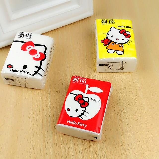 Creative Cartoon Novelty Soft Korean Hello Kitty Fashion Paper Ladies Girl  Disposable Handkerchief Kawaii Napkin AX 273e1af843d41