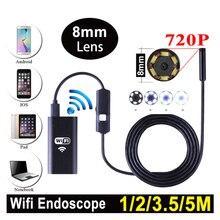 Wi-Fi эндоскоп с 8 мм объектив 1 м 2 м 3.5 м 5 м кабель 6 светодиодов Водонепроницаемый эндоскопа инспекционной скрытые мини Камера для IOS Android