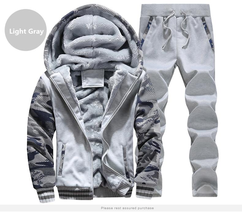 Winter Inner Fleece Hoodies Men Casual Hooded Warm Sweatshirts Male Thicken Tracksuit 2PC Jacket+Pant Men 23