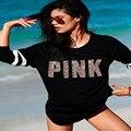2016 Inverno ocasional t shirt mulheres lantejoula Rosa letra impressa em torno do pescoço longo da luva de lantejoulas mulheres roupas tops blusa preta