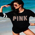 2016 Winter casual t shirt women sequin Pink letter printed round neck long sleeve sequined women tops blusa black clothing