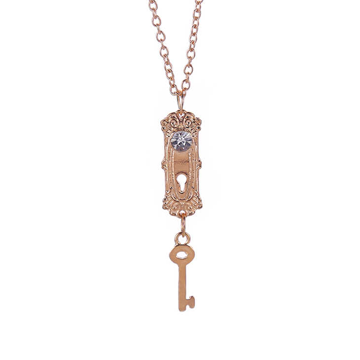 Alice In Wonderland Necklace Lock And Key Crystal Rhinestone Gold Pendant Fantasy Jewelry For Girls Lady Women Lovers Wholesale