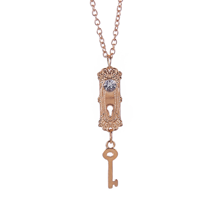 Alice in Wonderland necklace lock and key crystal rhinestone gold pendant jewelry for girls lady women lovers wholesale