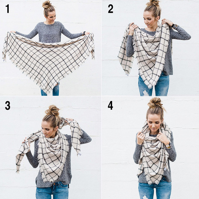 New Fashion Winter Scarf Women 2018 Triangle Warm Plaid Scarf Luxury Brand Ladies Cashmere Scarves and Shawls Drop Shipping-in Women's Scarves from Apparel Accessories on Aliexpress.com | Alibaba Group