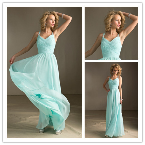 N Ew Mint Green Bridesmaid Dresses Long Party Gown Chiffon Prom Gowns Under 100 Floor