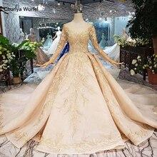 LS11555G altın gelinlik elbise düğün duvağı o boyun uzun kollu çiçekler gelin elbise tren ile فساتين طويله