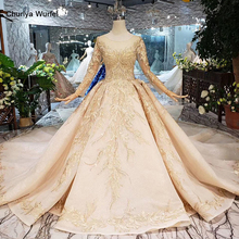 LS11555G golden wedding dresses gown with wedding veil o neck long sleeve flowers bridal dress with train فساتين طويله