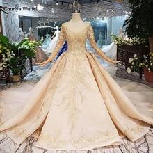 LS11555G robe de robes de mariée dorée avec voile de mariage o cou manches longues fleurs robe de mariée avec train