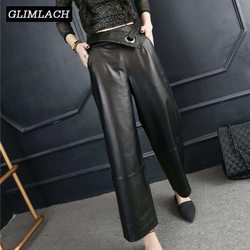 Real Leather Loose Wide Leg Pants Women Fashion Streetwear 2019 Spring Autumn Sheepskin Trousers Female High Quality Large Size