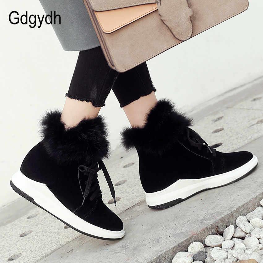 Gdgydh Yüksekliği Artan Bayanlar Kar Botları Siyah Gerçek Kürk Kış Çizmeler Artı Boyutu 43 Kadınlar Rahat sıcak ayakkabı 2018 Kış