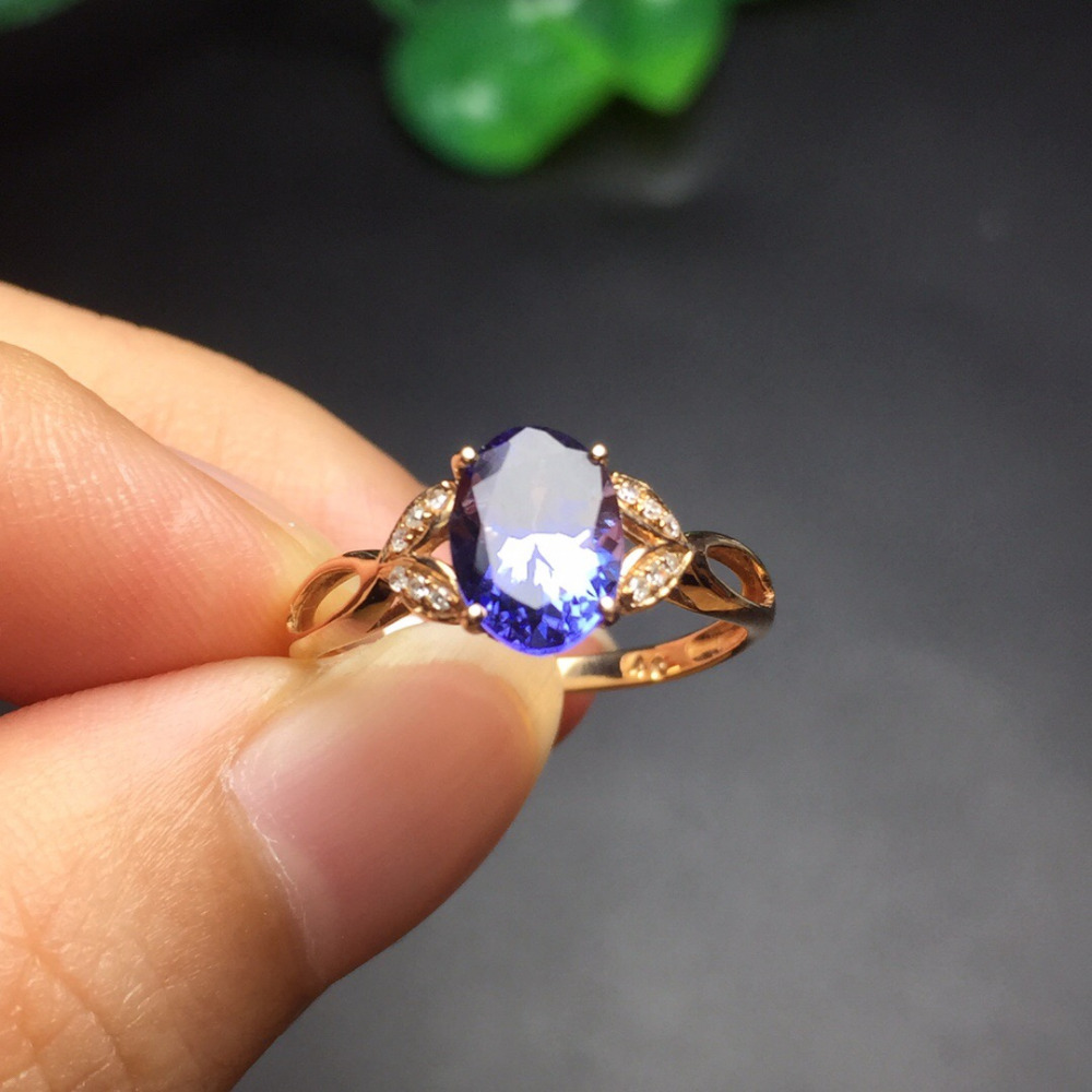 Fine Jewelry Customized Size Real 18K Rose Gold AU750 100% Natural Tanzanite Gemstone Female Rings for Women Fine Ring блуза qed london qed london qe001ewxgv44