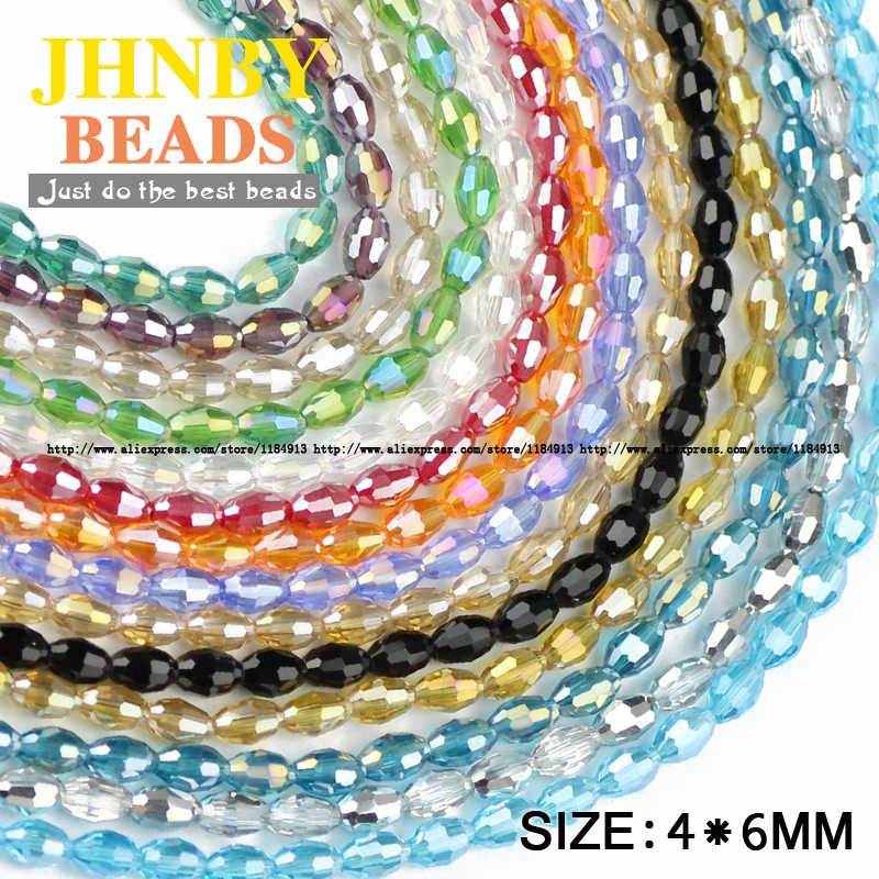 JHNBY Rice grains Austrian crystal beads 100pcs High quality 4*6mm oval shape Loose beads handmade Jewelry bracelet making DIY