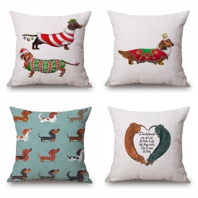 Aliexpress.com : Buy Dachshund Cushion Cover Christmas Festival ...