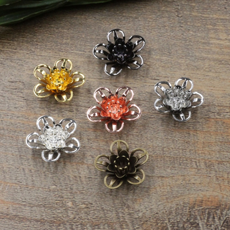 18mm*7mm 6 Colors Plated Filigree Hollow Flowers Settings Copper Bead Caps Charms For Jewelry Making Components