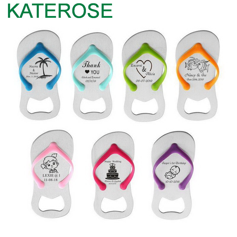 24PCS Personalised Thong Bottle Opener in Organza Bag Beach Wedding Favour Bomboniere Customized Flip Flop Beer