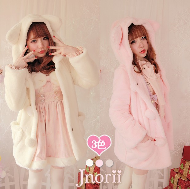 Princess sweet lolita coat BoBON21 original design winter Wool cloth with soft nap lining love pockets Cat ears coat C1154