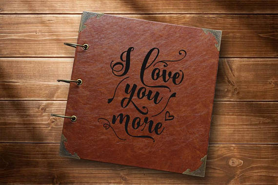 i love you more personalized wedding photo album leather guestbook