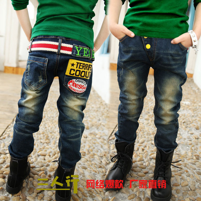 2016 Newest Children's Fashion Trousers Soft Jean Cloth Boy's Jeans Kids  Letter Pants B090