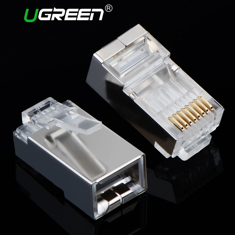 Ugreen Cat6 RJ45 Connector 8P8C Modular Ethernet Cable Head Plug Gold-plated Cat 6 Crimp Network RJ 45 Connector Cat6 rj45 connector cat5 cat6 lan ethernet splitter adapter 8p8c network modular plug for pc laptop 10pcs aqjg