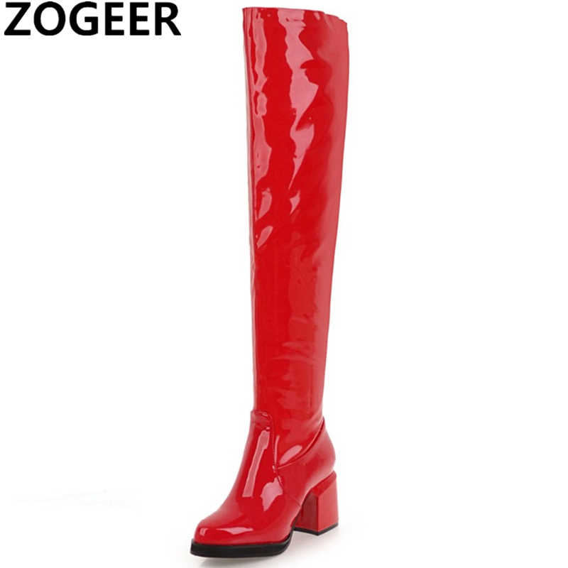 Fashion Over the Knee Boots Women Sexy Block High Heel Thigh high Boots Patent leather Party Fetish Shoes Woman Red Black Gold