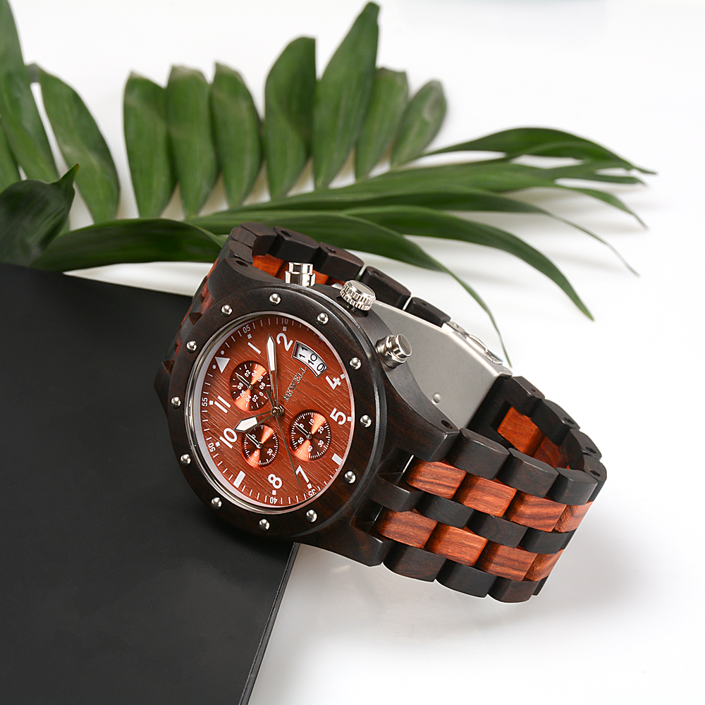 BEWELL Mens Watches Top Brand Luxury Wood Watch Men Sport Watch Chronograph Analog Digital Male Watches