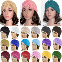 2019 New arrival Cotton Solid Bandanas Stretchy Turban Muslim Hat Wrap Knotted Indian Cap Adult Women Hair Accessory цена в Москве и Питере