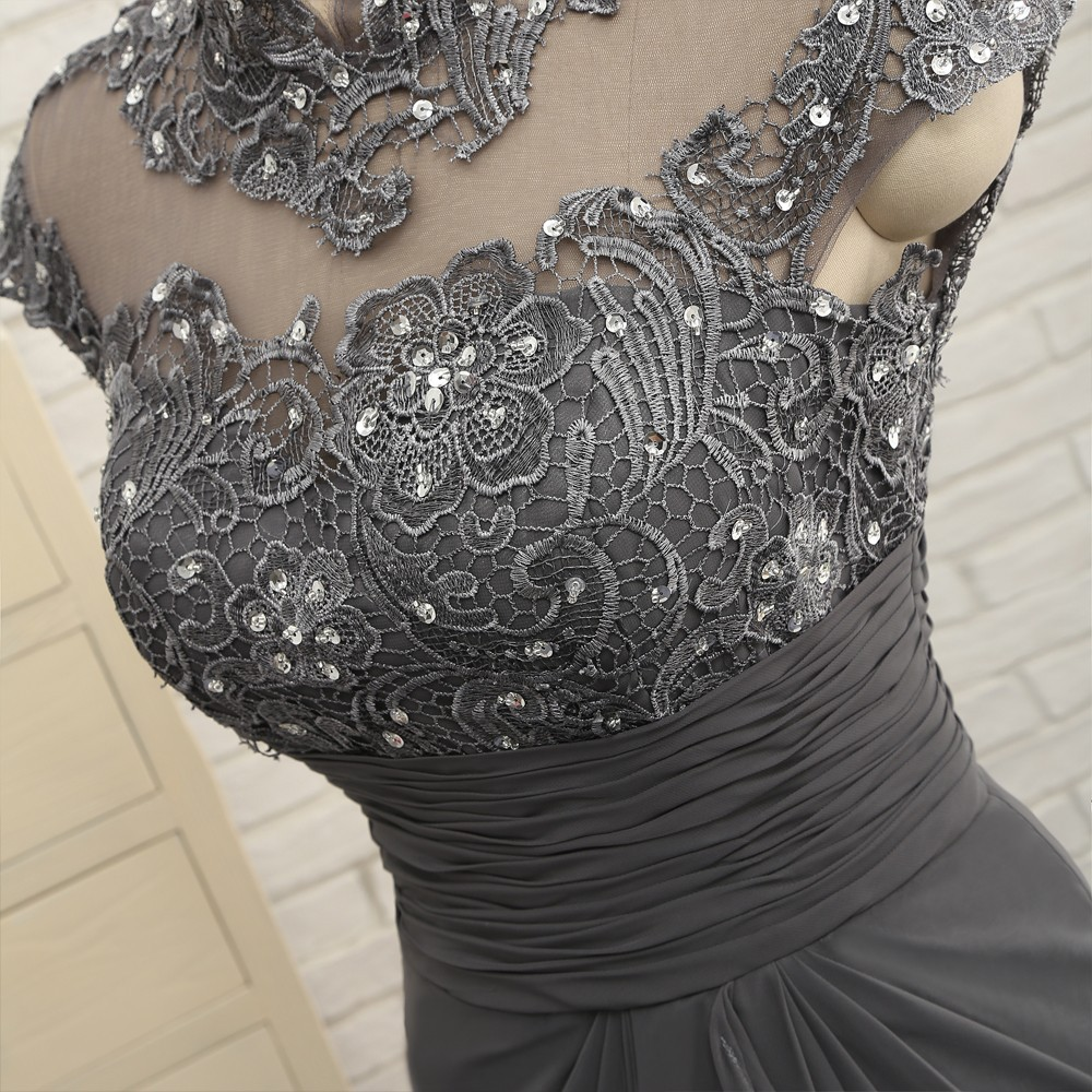 Open Back 2018 Mother Of The Bride Dresses Mermaid Cap Sleeves Gray Lace Beaded Long Evening Dresses Mother Dresses For Wedding 5