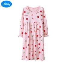 Купить с кэшбэком iAiRAY kids cotton pajamas for girls sleepwear children nightgown cherry print pijamas kids nightdress girl sleeping dress 2018