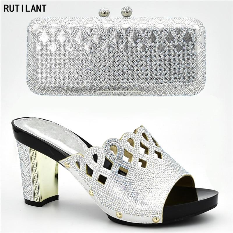 Las Zapatos Lujo Diseñadores A Juego Bolsos Bombas Diseñador Nigeria Italiano Los rojo Decorado Y Con Negro De plata púrpura Imitación Diamantes Mujeres 7qxAwS5pw