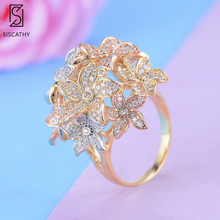 28*28 mm Popular Flora Cluster Wide Surface Finger Rings Statement Cubic Zirconia Circle Ring For Women Girls Party Engagement