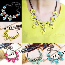 Fashion Collier Femme Clavicle Fluorescent metal joker color flowers Vintage Flower Crystal Bib Choker Statement Necklace