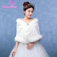 Best Deal New Fashion White Ivory Colour Trendy Bride Wedding Dress Faux Fur Shawl Wedding