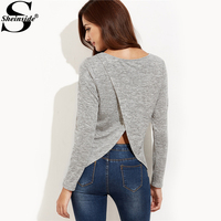 Sheinside Grey Crossover Back Marled Knit Stretchy T-shirt Women Round Neck Long Sleeve Plain Shirt 2017 Casual Fall Tee