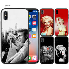 Marilyn Monroe Love girl Black Scrub Silicone Soft Case Cover Shell for iPhone XS Max X XR 6 6s 7 8 Plus 5 SE 5S(China)