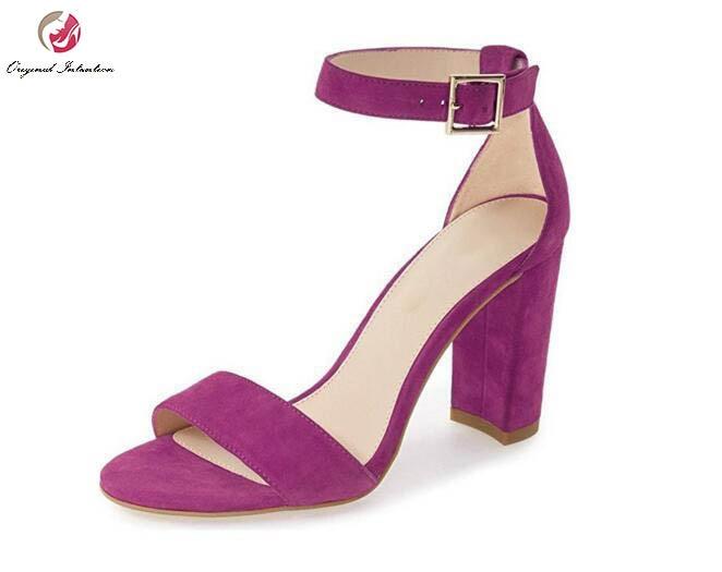 ФОТО Original Intention 7 Colors Women Sandals Stylish Peep Toe Square Heels Sandals High-quality Shoes Woman Plus US Size 4-15