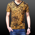 2016 Leopard print t shirt Gold tee shirt Mens summer V-neck male t-shirt plus size viscose short-sleeve slim Fit mens clothing