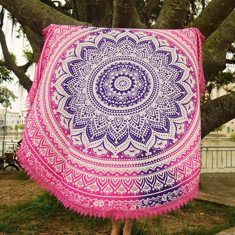 Handmade Summer Beach Towels Floral Printed Lace Tassels Round Blanket Bath Towel Swim Cover-ups High water absorbent Yoga Mat 9