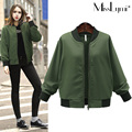 XXXL 4XL 5XL Plus Size Women Basic Coats 2017 Spring Autumn Fashion Stand Collar Long Sleeve Loose Casual Zipper Bomber Jacket