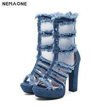 NEMAONE High Heels Women Denim summer boots Frayed Tassel Back Strap Buckle String Bead Thick high Heel shoes size 43