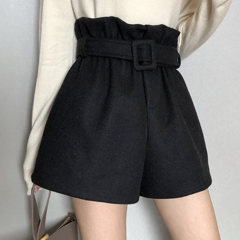 Autumn Winter Thick Short Feminino Women High Waist Shorts Mujer Korean Fashion Solid Wide Leg Shorts Women Casual Short Pants