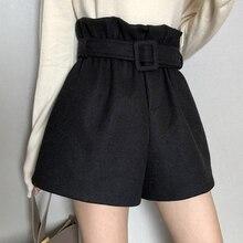 Autumn Winter Thick Short Feminino Women High Waist Shorts Mujer Korean Fashion Solid Wide Leg Shorts Women Casual Short Pants