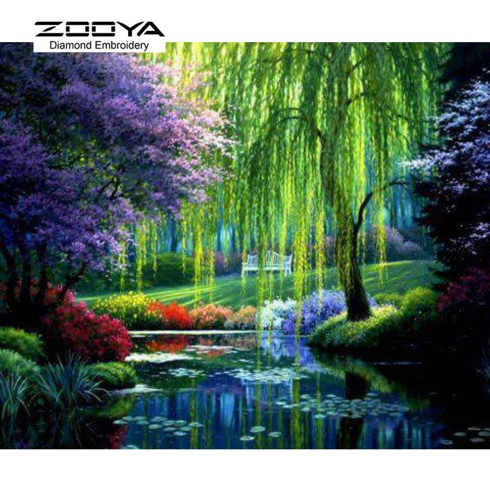 5D DIY Diamond Painting Weeping Willow Crystal Diamond Painting Cross Stitch River Views Scenic Needlework Home Decorative BJ778