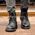 British Hombres High Top Zapatos de Moda de algodón acolchado, Además de Terciopelo Martin Botas de Cuero Masculinos Genuinos Botas Del Ejército de Invierno