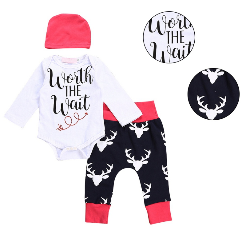 2017 Children Baby Boys Girls Clothing Set Clothes Deer Head Printed Full Sleeve Bodysuit One-piece Jumpsuit Tops + Pant + Hat