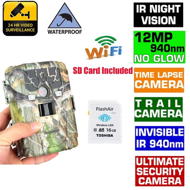 Bestguarder 940NM Scouting Hunting Camera HD 1080P 12MP Night Vision Infrared Trail Camera+16GB Wifi Card Wildlife Photo Trap bestguarder sy 007 360 degree wireless hunting trail