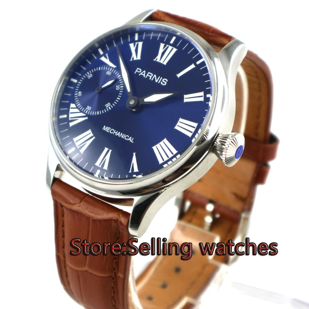 44mm Parnis blue dial brown leather strap polished case 17 jewels 6497 movement hand winding Mechanical Men's Watch 44mm corgeut black dial orange marks stainless steel case leather strap 17 jewels hand winding 6497 movement men s watch